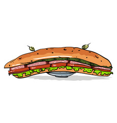 cartoon image of huge sandwich vector image vector image