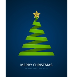 Christmas tree from paper ribbon vector image vector image