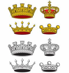 crowns set vector image vector image