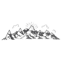 Montain and clouds vintage vector