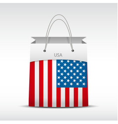 Shopping bag with USA flag vector image