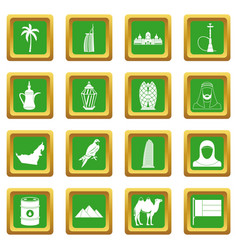 uae travel icons set green vector image vector image