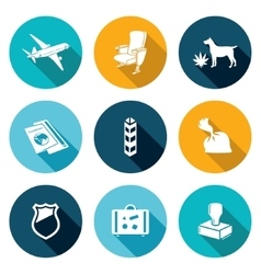 Airplane Drug trafficking Icons Set vector image vector image