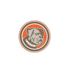 Bulldog Dog Mongrel Head Mascot Circle vector image vector image