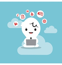business man working with laptop cloud network vector image