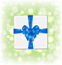 Gift box with blue bow for your party vector image vector image