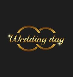 Wedding day greeting card mockup couple gold rings vector image vector image
