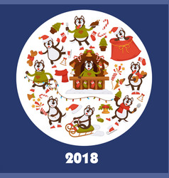 2018 dog year poster for christmas or new year vector image