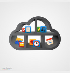 Black cloud shelf with icons vector