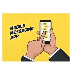 writing a message on mobile app Pop art vector image vector image