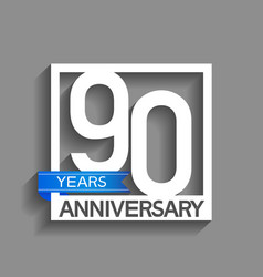 90 years anniversary logotype with white color vector