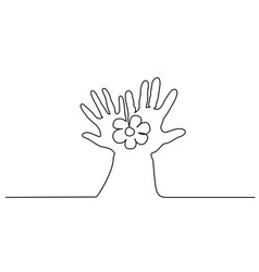 abstract hands holding flower continuous one line vector image