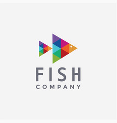 abstract modern triangle colorful fish logo icon vector image