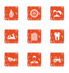 aftermath of the war icons set grunge style vector image