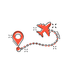 Airplane flight route icon in comic style travel vector