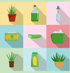 Aloe vera icons set flat style vector