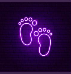 Baby footprint neon sign vector