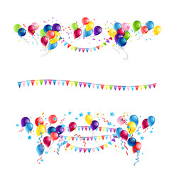 Ballons and flags set vector