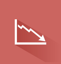 Bankruptcy chart icon with shade on red background vector
