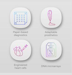 Bioengineering app icons set paper-based vector