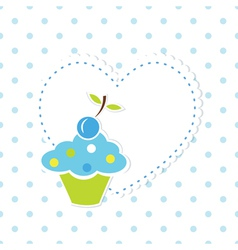 Blue cupcake background 2 vector image