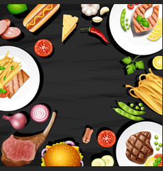 Border design with different kinds of food vector