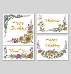 Botanic card with wild flowers vector