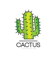 Cactus logo design desert prickly plant green vector
