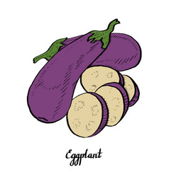 calligraphy eggplant coloured poster vector image