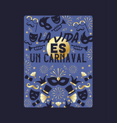 carnaval with golden and blue party elements vector image