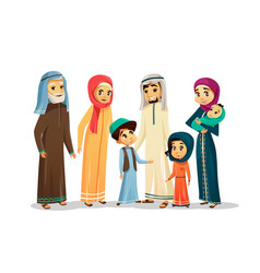 Cartoon arab family characters set vector