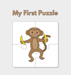 cartoon monkey puzzle template for children vector image