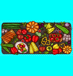 cartoon of various vegetables vector image
