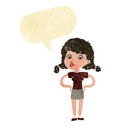 Cartoon pretty girl with hands on hips with speech vector