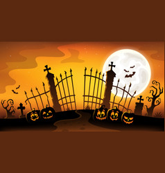 Cemetery gate silhouette theme 5 vector