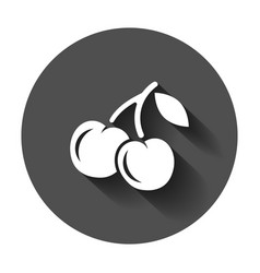 cherry berry icon cherries with long shadow sweet vector image