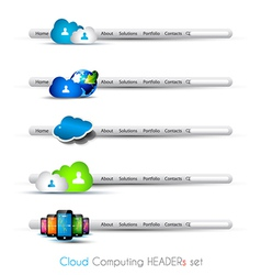 Cloud Computing themed headers or footers vector