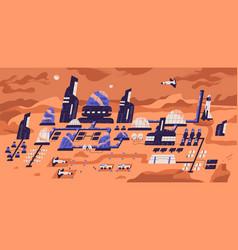 colonization mars panoramic view human vector image
