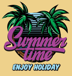 color poster template for summer time party vector image