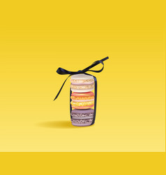 Colorful macaroons set in a bow realistic vector