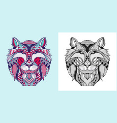 coloring book fox head vector image