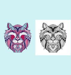 Coloring book fox head vector