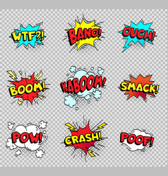 Comic speech bubbles cartoon explosions text vector
