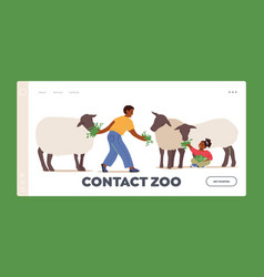 Contact zoo landing page template kids feeding vector