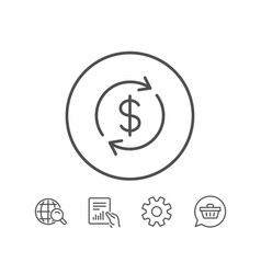 Currency exchange line icon money transfer vector