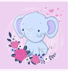 Cute cartoon elephant with a bouquet roses vector