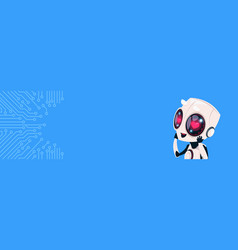 cute smiling robot with heart shaped eyes over vector image