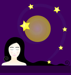 Cute woman with stars at night vector