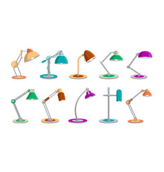 desk light lamps set in flat style vector image