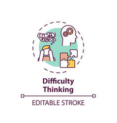 Difficulty thinking concept icon vector
